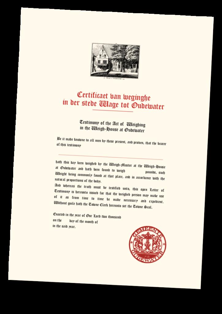 certificaat heksenwaag heksenweging schaduw oudewater